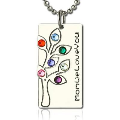Birthstone Mutter Stammbaum Halskette Geschenke Sterling Silber