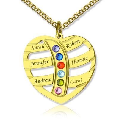 Mütter Halskette mit Kindern Namen GLÜCKSSTEIN 18 karätigem Gold überzogen