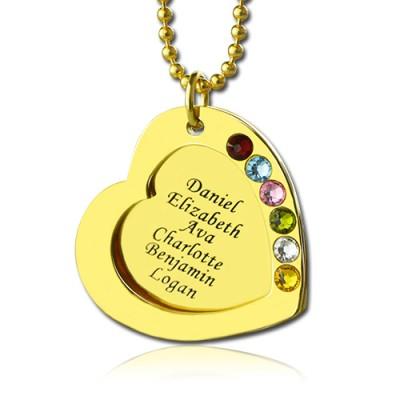 Herz GLÜCKSSTEIN Halskette für Mutter in Gold