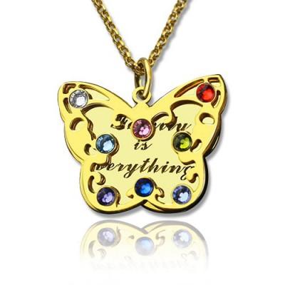 Geburtsstein Schmetterlings Halskette 18 karätigem Gold überzogen