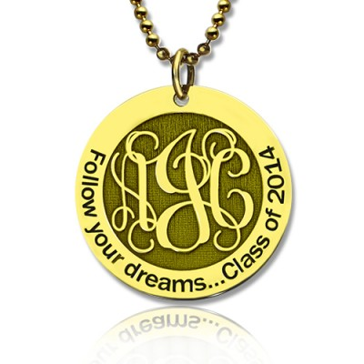 Folgen Sie Ihren Träumen Disc Monogramm Halskette 18 karätigem Gold überzogen
