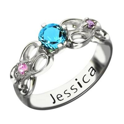 Customized Unendlichkeit Promise Ring Mit Namen Geburtsstein für ihre Silber
