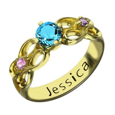 Birthstone Infinity Promise Ring mit Namen 18 karätigem Gold überzogen