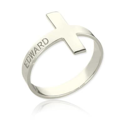 Gravierte Namens Kreuz Ringe Sterling Silber