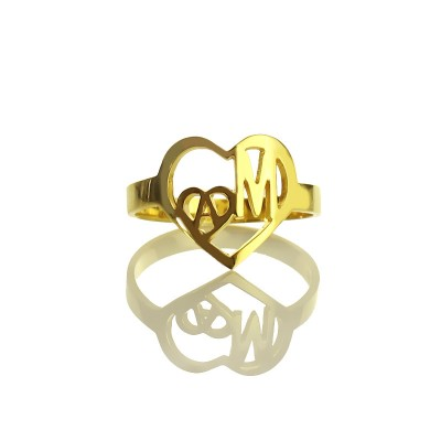 Personalisierte Herz in Herz Doppel Initial Ring 18 Karat Gold überzogen