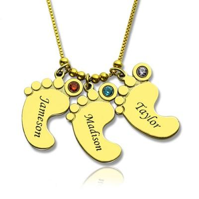 Mutter Anhänger Baby Fuß Halskette 18 karätigem Gold überzogen