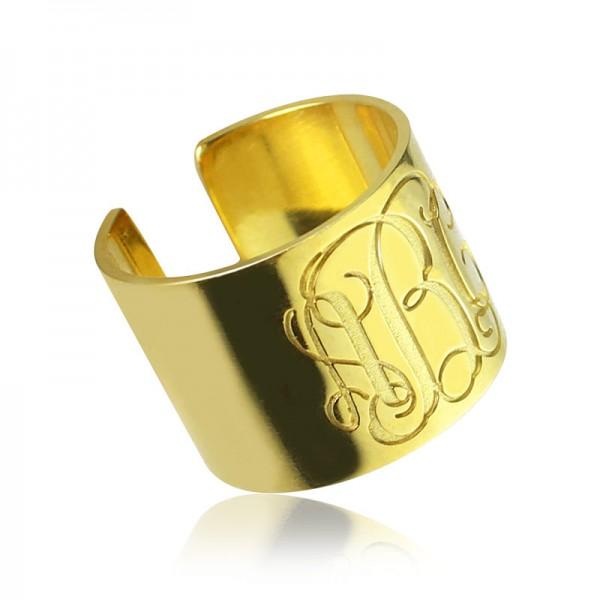 Skript Monogramm Stulpring Geschenke 18 karätigem Gold überzogen