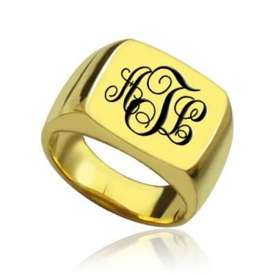 Benutzerdefinierte 18 karätigem Gold überzogen Monogramm Siegelring