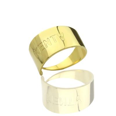 18ct Gold überzogener Name eingraviert Cuff Ringe