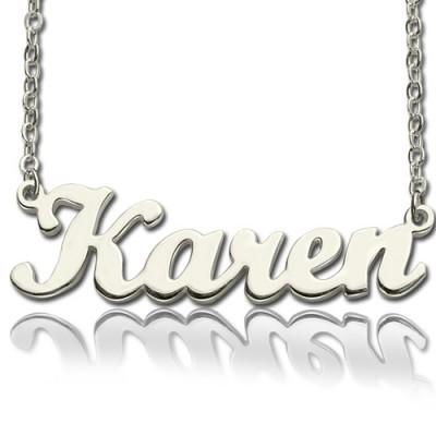 Feste 18ct weißes Gold überzogen Karen Art Name Halskette