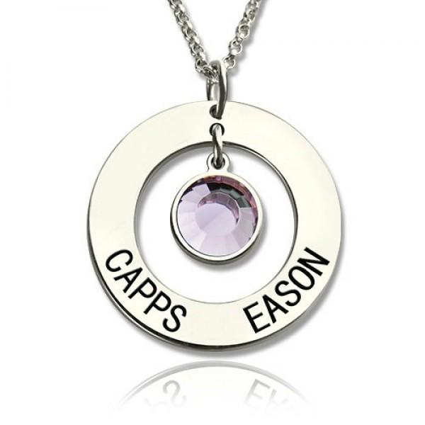 Personalisierte Kreis Name Anhänger mit Silber Birthstone