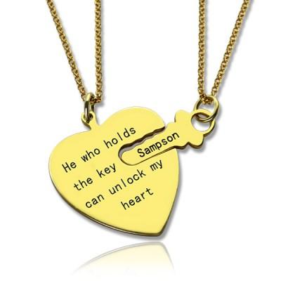 Er hat den Schlüssel Paar Ketten Hält Set 18 karätigem Gold überzogen