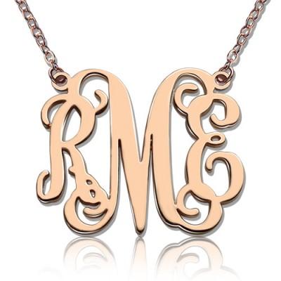 Benutzerdefinierte 18ct Rose Gold überzogen Monogramm Initialen Halskette