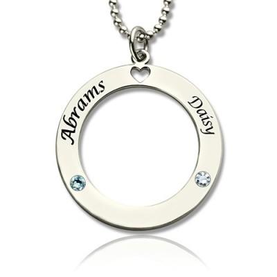 Gravierte Kreis der Liebe Namenskette mit Silber Birthstone