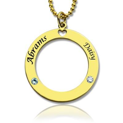 Kreis der Liebe Namenskette mit 18 karätigem Gold überzogen Geburtsstein Silber