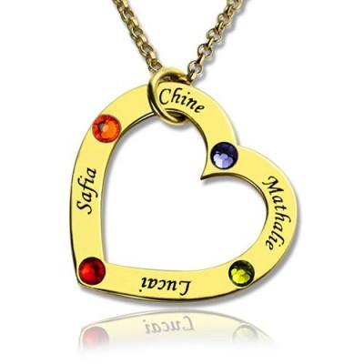 Gold überzogen Geburtsstein Herz Halskette Für Mutter
