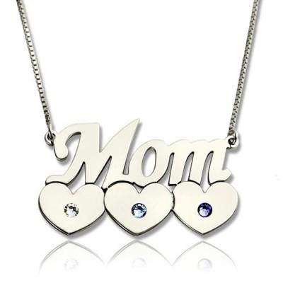 Mutter Halskette mit Kindern Silber Birthstone