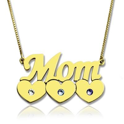 Moms Halskette mit Kindern birthstone In 18 karätigem Gold überzogen