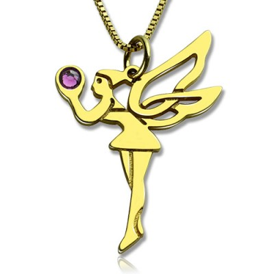 Fee Geburtsstein Halskette für Freundin 18ct Gold überzogenen Silber 925