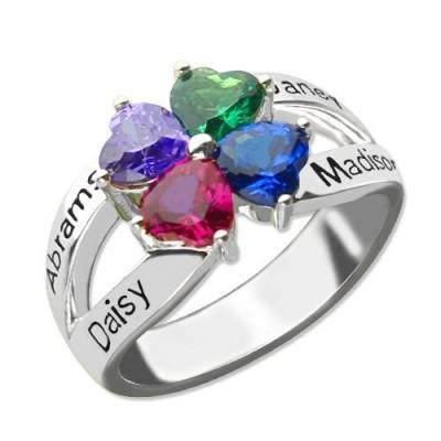 Personalisierte Mütter Namen Ring mit Geburtsstein Sterling Silber