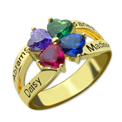 Familien Ring für Mom Vier Clover Hearts in 18 Karat Gold überzogen