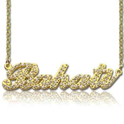 18ct Gold überzogenen Vollgeburtsstein Carrie Namenskette