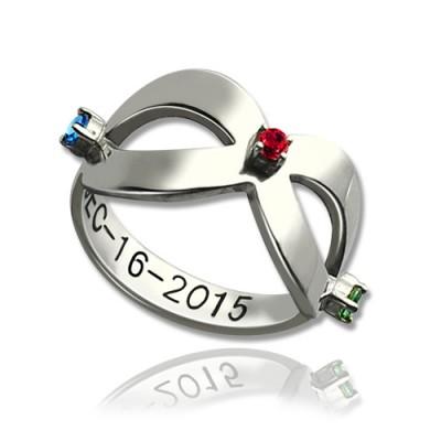 Infinity GLÜCKSSTEIN Ring eingraviert Datum Sterling Silber