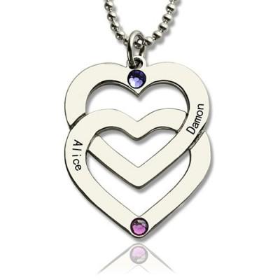 Personalisierte Doppel Herz Halskette mit eingraviertem Namen Sterling Silber