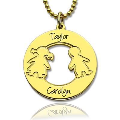 Kreis Halskette Gravierte Kinder Name Charms 18 karätigem Gold überzogen Silver925