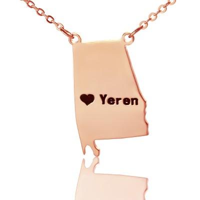 Individuelles Alabama State USA Karte Halskette mit Herz Namen Rose Gold