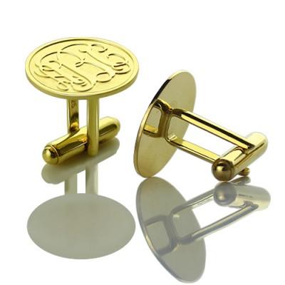 Gravierte Manschettenknöpfe mit Monogramm 18 karätigem Gold überzogen