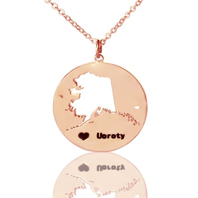 Benutzerdefinierte Alaska Disc Staat Halskette mit Herz Namen Rose Gold