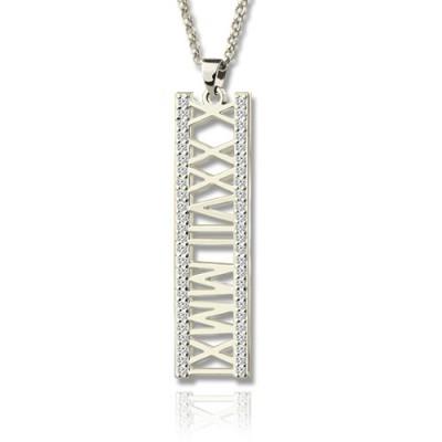 Römische Zahl Vertikale Halskette mit GLÜCKSSTEIN Sterling Silber