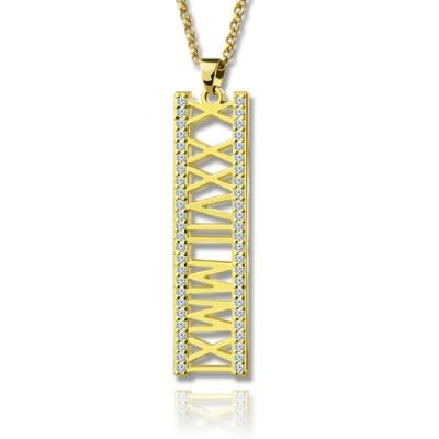 18ct Gold überzogene römische Ziffer Halskette mit Geburtsstein