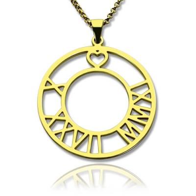 18ct Gold überzogene römische Ziffer Disc Halskette