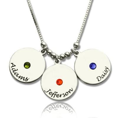 Der Mutter Disc und birthstone Charme Halskette