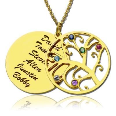 18ct Gold überzogenen Stammbaum Geburtsstein Namenskette