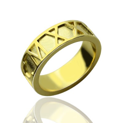 18ct Gold überzogene römische Ziffer Datum Ringe