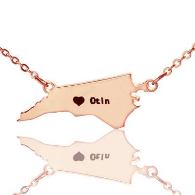 Personalisierte NC State USA Karte Halskette mit Herz Namen Rose Gold