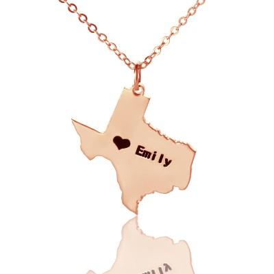 Texas State USA Karte Halskette mit Herz Namen Rose Gold