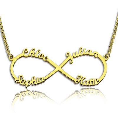Benutzerdefinierte 18 karätigem Gold überzogen Unendlichkeit Halskette 4 Namen