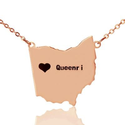 Individuelles Ohio State USA Karte Halskette mit Herz Namen Rose Gold