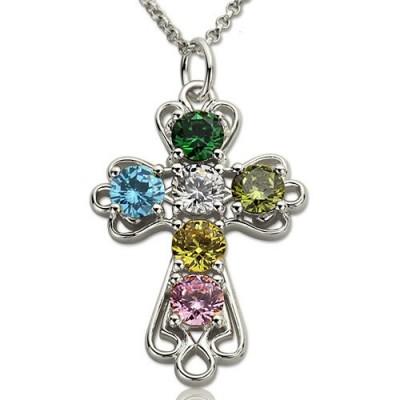 Personalisierte Kreuz Halskette mit GLÜCKSSTEIN Sterling Silber