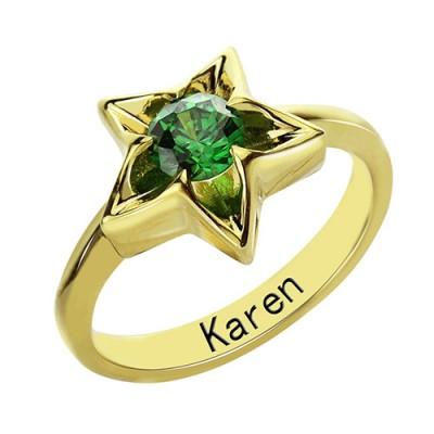Personalisierte Stern Ring mit Geburtsstein Vergoldetes Silber