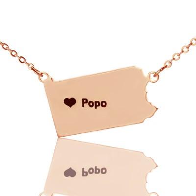 Personalisierte PA State USA Karte Halskette mit Herz Namen Rose Gold