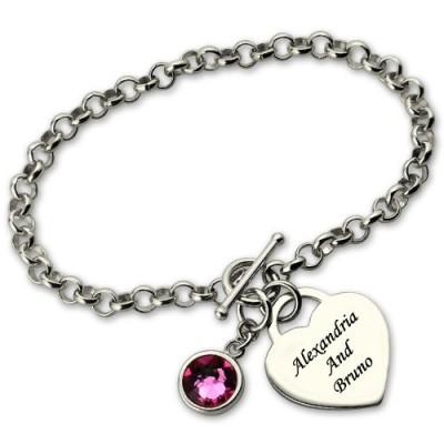 Personalisierte Charm Armband mit Geburtsstein Name Sterling Silber