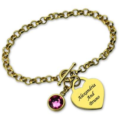 Engravable Geburtsstein Armband mit Herz Namen Charm 18ct Goldplatte