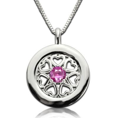 Geburtsstein Herzen Rund um die Halskette aus Sterling Silber