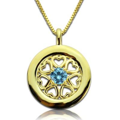 Personalisierte Herzen um Halskette mit 18 Karat Gold überzogen Geburtsstein