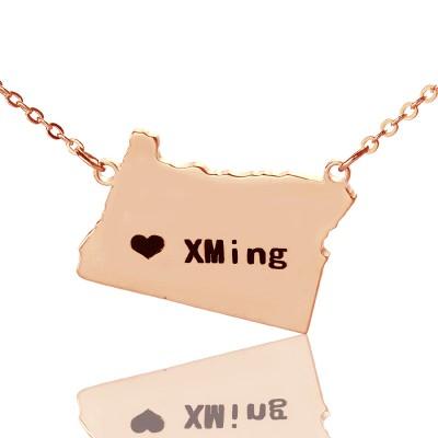 Individuelles Oregon State USA Karte Halskette mit Herz Namen Rose Gold